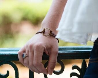 Petit Hammered Brass Ring Bracelet