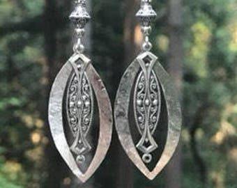 Art Deco earrings, silver earrings, lightweight, long, hammered metal