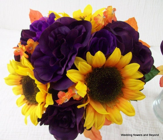 Sunflower bridal bouquets purple orange and yellow silk mightylinksfo