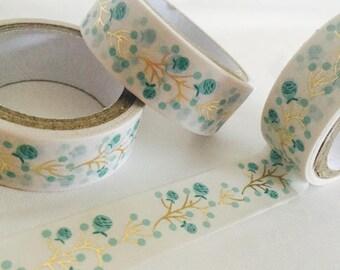 Gold Foil Flower Buds Washi Tape