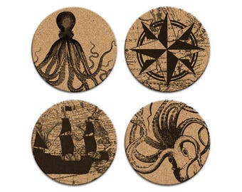 OCTOPUS COMPASS SHIP Nautical Coastal Cork Coaster Set Of 4 Home Decor Barware Decoration
