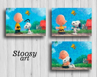 snoopy and charlie brown print set of 3 the peanuts movie snoopy decor