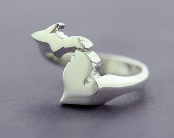 Silver Michigan Mitten Ring | Michigan Jewelry | Argentium Silver (935)