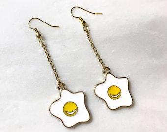 Sunny Side Up Fried Egg Gold Hook Earrings Scramble Egg Pendant