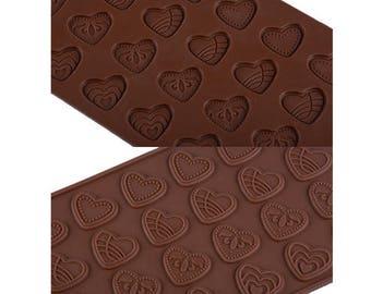 Heart Flat Silicone Chocolate Mold - JSC1345 - Baking Fondant Candy Royal Icing Ice Soap