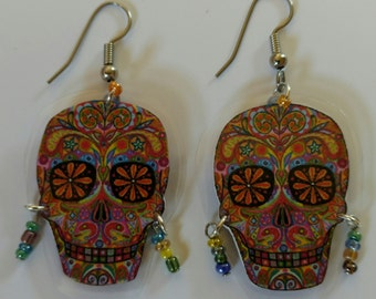 Day of the Dead Earrings-Dia de los Muertes-Halloween Earrings-Laminated Earrings-Skull-Sugar Skull-Lightweight-Dangle-French Ear Wires