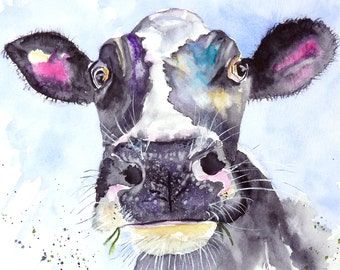 A fine print of MOO from a watercolour painting by Pauline Merritt