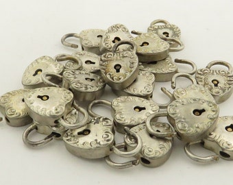 20 / 1930's Vintage Sterling Silver Puffy Floral Heart Lockets Open & Close Latches.