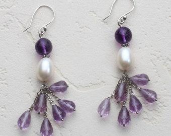 Amethyst Earrings, Pearl Earrings, Pearl and Sterling Silver Earrings, Cluster Earrings, Handmade and Amethyst Earrings