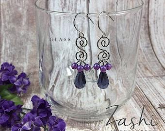 Purple Glass Beaded Silver Spiral Drop Earrings