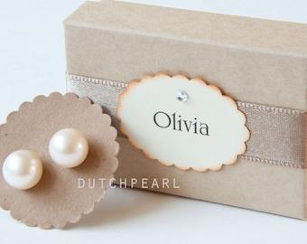 Big 10mm real pearl earrings studs - freshwater - genuine pearls  - white sterling silver - chunky pearl stud earrings post - large wedding