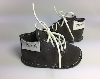 Baby Boy Dark Gray shoes, Soft Leather Baby Boy Shoes, Soft Sole Baby Shoes