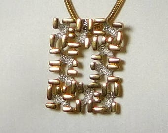 Large Chunky Geometric Abstract Pendant Modernistic Art Necklace Omega Chain Brutalist Jewelry Mid Century Modern Costume Jewelry