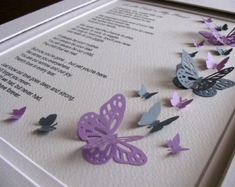8x10 Child in My Heart 3D Memorial Butterfly Word Art. Sample Shows Purple & Gray or CHOOSE Your Preferred 2 Colours. Made to Order