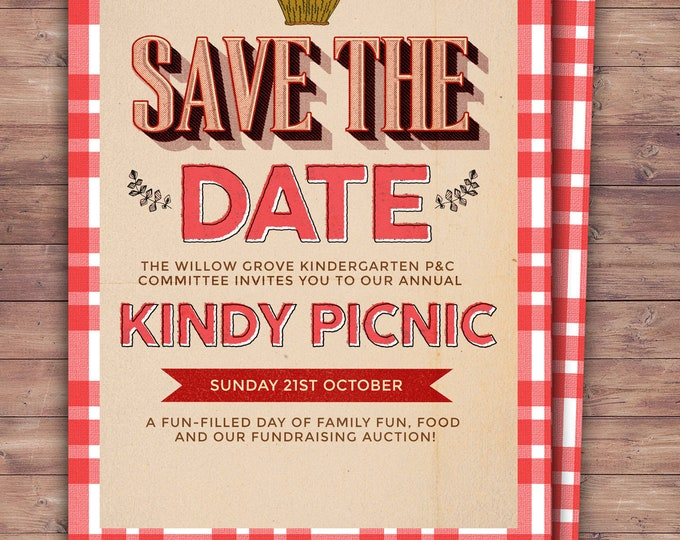 Save the date, Neighborhood Picnic Invitation, company picnic, corporate picnic, BBQ, neighborhood bbq, picnic party, potluck