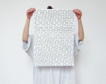 Poster black eyes drawing on white paper original work