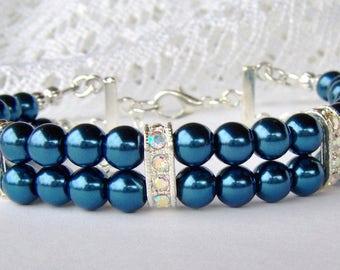 Cobalt blue double strand pearl bracelet / bridesmaid bracelet / gift for her / adjustable bracelet / girlfriend gift / birthday gift