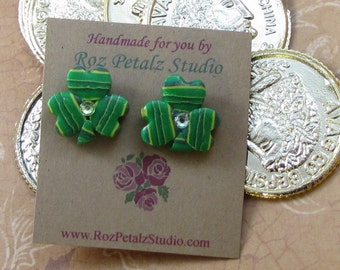 Striped Green Shamrock Post Earrings  - St. Patrick's Day - polymer clay jewelry for women Gift for Wife Girlfriend Teacher Daughter