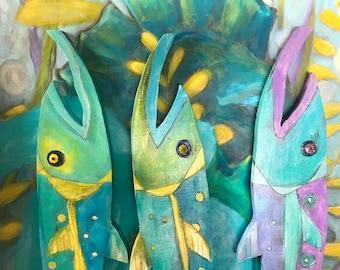 Benjamin the Barracuda-Timber Fish, wooden fish, painted wooden fish, painted fish, beach art, fish art, island art, wooden barracuda, fish