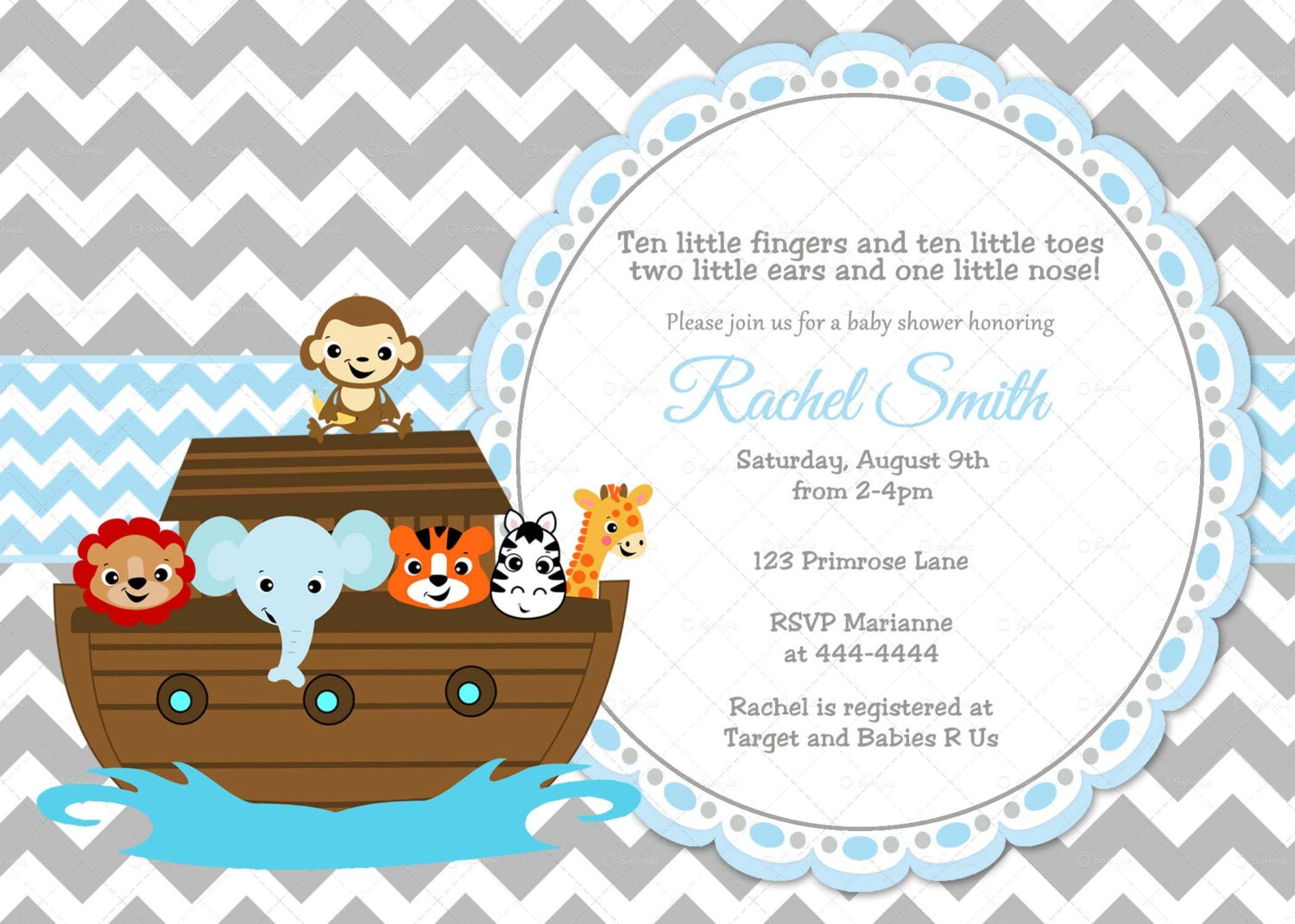 Blue and Grey Chevron Noah\'s Ark Boy Baby Shower
