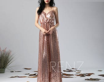 Bridesmaid Dress Rose Gold Sequin Dress,Wedding Dress,Spaghetti Strap Maxi Dress,Low Back Party Dress,Ruched V Neck Evening Dress(HQ582)