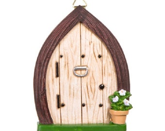 Mini Fairy Door w/Knocker & Hanging Hook - 3.375 x 4.4375 inches - Resin - Fairy Garden - Yard mini - doll house - terrarium - diorama