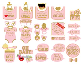 37 Pink Glitter Baby Shower Photo Booth Props ...