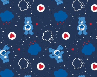Camelot The Care Bears Fabric: Grumpy Bear Navy Blue 100% cotton fabric by the yard  CA638