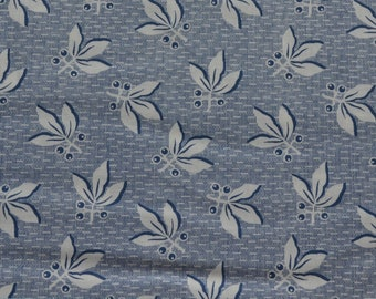 Leaf Fabric, Blue Fabric, Quilting Supply, Cotton Fabric By The Yard, Fat Quarter, 1 Yard Fabric, Clothworks Blueberry Buckle Fabric, Craft