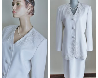 Anthony Sicari Beaded White Two Piece Jacket Skirt, St Anthony Evening Size 10 Formal Suit