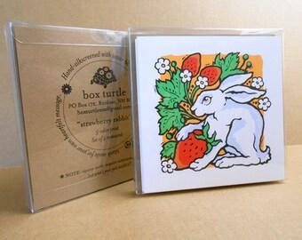 Strawberry Rabbit hand-silkscreened notecards, Boxed Set of 4