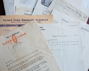 Odd lot of vintage correspondence. 16 pieces. 1917-1939. Multiple businesses. Letterhead. Ephemera. Collage. AT&T. Manila, Philippines