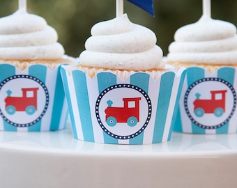 Train cupcake wrappers, Printable PDF File, Train Party Decorations, INSTANT DOWNLOAD