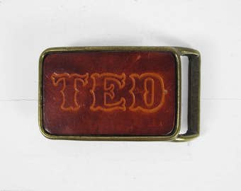 Vintage Ted Belt Buckle 1970s Leather Stamped Brass Retro Buckle