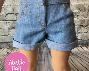 Summer Light Washed Roll Up Cuff Shorts For American Girl Doll or 18 Inch Doll