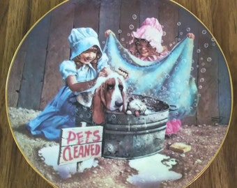 "Children of the American Frontier Collector Plate by Don Cook ""Tubs & Suds"" 1986"