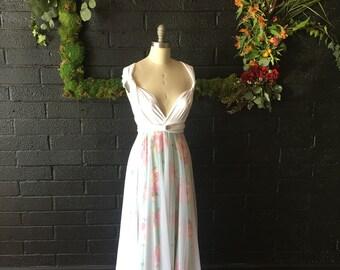Mint Rose Garden Tulle Full Circle Infinity Convertible Wrap Dress- Custom choose fabrics for Bridal, Bridesmaids, prom, maternity