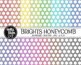 50% off SALE!! 16 Bright HoneyComb Digital Paper • Rainbow Digital Paper • Commercial Use • Instant Download • #HONEYCOMB-101-1-B