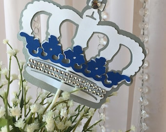 Royal Crown Centerpiece Stick/ Royal blue and silver / Royal baby shower centerpiece/ Crown one side centerpieces/ Crown centerpieces stick