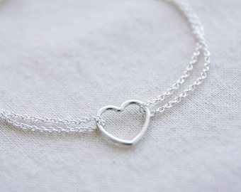 Sterling Silver Heart Anklet Delicate Double Chain Anklet Floating Heart Dainty Anklet Minimal Body Jewelry Gifts for Her Jewellery Under 50