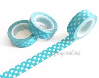 WASHI TAPE | Turquoise Star Washi Tape | Planner Washi Tape | Japanese tape | Journaling tape | Planner Stickers | Star washi | Scrapbooking