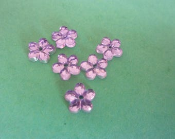 Set of 5 translucent purple rhinestone shaped acrylic flower, stick - 6mm