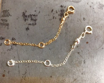 Adjustable chain extender ,  Sterling silver / gold fill chain extender . Necklave extender .