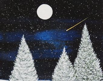 Border Collie Dog Puppy Art Print by Todd Young painting WINTER STARRY NIGHT