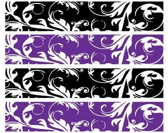 Damask Napkin Wraps - Purple & Black DAMASK napkin wraps - DIY Printable file