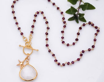 Lariat Necklace - White Agate Necklace - Wire wrapped Garnet and Sea Star Charm Necklace - January Birthstone