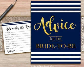 Navy Blue and Gold Advice for the Newlyweds Bridal Shower Activity - Printable Navy Blue and Gold Bridal Shower Advice Cards and Sign 011