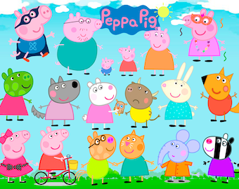 81 Peppa Pig ClipArt Digital PNG  image picture drawing illustration art birthday party handicraft scrapbooking printable Clipart transfer
