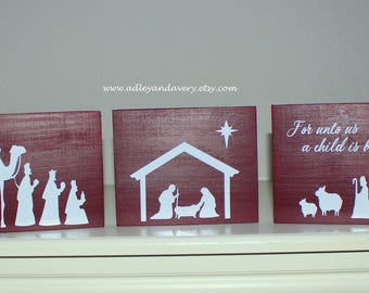Hand Painted Wooden Nativity Scene, Wooden Nativity, Manger Scene, Christmas Decor, Holiday Decor