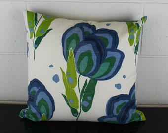 French Linen Exclusive Tulip Flower Design Cushion Pillow Cover by Peacock and Penny.  40cms x 40cms